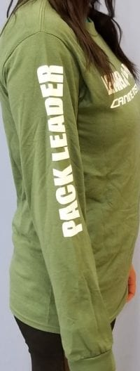 Leader of the Pack Canine Institute green long sleeve t-shirt, side view
