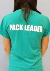 Leader of the Pack Canine Institute green short sleeve t-shirt, back view