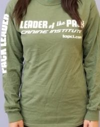 Leader of the Pack Canine Institute green long sleeve t-shirt, front view